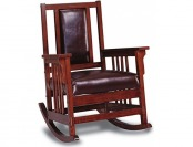66% off Coaster Mission Style Rocking Wood and Leather Chair
