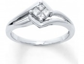 $167 off 1/5 cttw Princess-cut 10K White Gold Diamond Fashion Ring