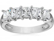 69% off Platinum-Plated Sterling Silver Swarovski 5 Stone Ring