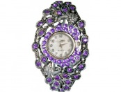91% off Silver Plated Round Bangle with Purple Stones Watch