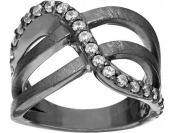 60% off Vicenza Silver Sterling Crystal Design Satin Finish Ring