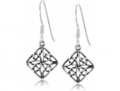 81% off Sterling Silver Celtic Knot Diamond-Shaped Drop Earrings