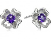 78% off Sterling Silver Amethyst and Diamond Accent Flower Earrings