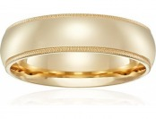 67% off Men's 14k Yellow Gold 6mm Comfort Fit Milgrain Wedding Band