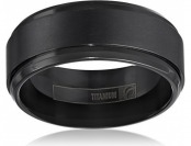 69% off Men's Black Titanium 9mm Comfort Fit Plain Wedding Band
