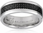 78% off Men's 8mm Cobalt Wedding Band w/ Carbon Fiber Center Inlay