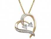 70% off Gold over Sterling Silver Diamond Duo Heart Pendant
