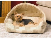 77% off K&H Lounge Sleeper Hooded Pet Bed in Tan Patchwork