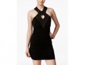 78% off Crystal Doll Juniors' Embellished Bodycon Halter Dress