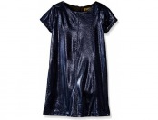 80% off Nicole Miller Girls' Metallic Coated Knit Ponte Shift Dress