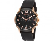 94% off Ted Lapidus Men's Crystal Chrono Black Rubber Watch