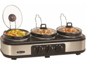 50% off Bella 3 X 1.5-quart Triple Slow Cooker - Stainless Steel/black
