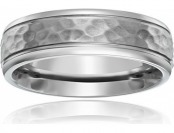 60% off Men's Titanium Hammered Center Round Edge Wedding Band