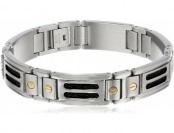 88% off Men's Stainless Steel Black Cable Bracelet with 10K Screws