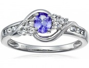 77% off 10K White Gold Tanzanite and White Topaz Ring