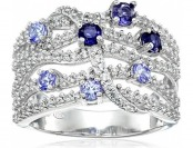 51% off Sterling Silver Tanzanite / Iolite and White Sapphire Ring