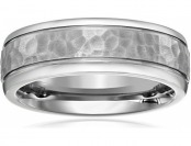 64% off Men's Titanium Hammered Center Comfort-Fit Wedding Band