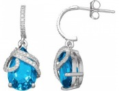 80% off Blue Topaz & 1/5 Carat T.W. Diamond 10k White Gold Earrings