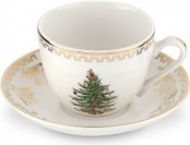 94% off Spode Christmas Tree Gold Teacup and Saucer, Set of 4