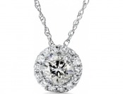 92% off 1cttw Genuine Diamond Halo Pendant 14K White Gold