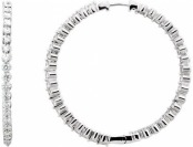 90% off 3cttw Diamond Hoops Inside Outside 14K White Gold