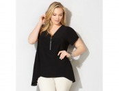 60% off Avenue Plus Size Solid Zipper Sharkbite Top