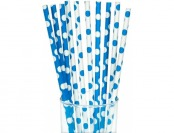 91% off Blue/White Dot Paper Straws - 10 count