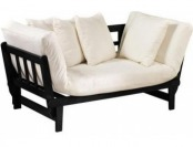 75% off Mission-Style Convertible Lounge - Black, Ivory