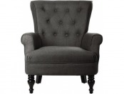 "75% off Morgan Tufted Armchair - 37""Hx34""W, Charcoal Gray"