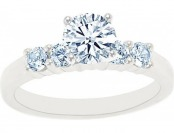 75% off 14K White Gold Five Stone Round Certified Diamond Ring