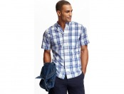 72% off Old Navy Slim Fit Plaid Poplin Shirt For Men