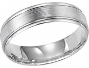 92% off Satin Engraved Men's 10K Wg Wed Band, Men's