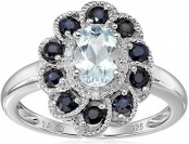 81% off Sterling Silver Aquamarine, Blue Sapphire, and Diamond Ring