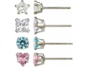 85% off 4 Pc Girls Sterling Silver Cubic Zirconia Earring Set