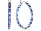 90% off Platinum Over Bronze Crystal Inside Outside Hoop Earring