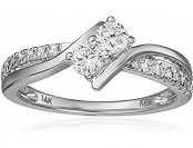 75% off Two Stone Diamond 14k White Gold Ring (1/2cttw)
