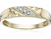 90% off 10k Yellow Gold Diagonal Diamond Women's Wedding Band