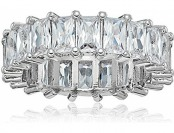 95% off Sevil 18K White Gold Emerald Cut CZ Eternity Ring