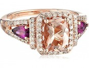 90% off 10k Pink Gold Morganite, Rhodolite and Diamond Ring