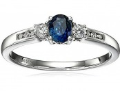 75% off 10k White Gold Sapphire and Diamond Ring