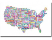 "94% off US Cities Text Map IV by Michael Tompsett Canvas, 30""x47"""