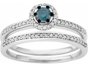 65% off 10k White Gold 1/2 Carat T.W. Blue & White Diamond Ring