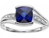 80% off Lab-Created Blue Sapphire & Diamond Sterling Silver Ring