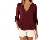 75% off HIMONE Women's V-Neck Button Solid Blouse