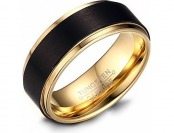 95% off 8mm Mens Black Tungsten Wedding Band Ring 18k Gold Plated