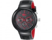 64% off Lacoste Men's Boneo Black/Red Stainless Steel Watch