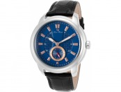 89% off Lucien Piccard Duval Black Genuine Leather Blue Dial Watch