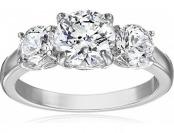 67% off Sterling Silver Swarovski Zirconia 3 cttw Round 3 Stone Ring