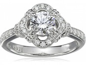 69% off Sterling Silver Swarovski Zirconia Antique Frame Halo Ring