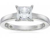 64% off Sterling Silver Swarovski Zirconia Princess-Cut Solitaire Ring